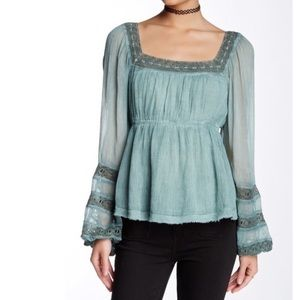 Free People Moonchaser Top Blue NWT